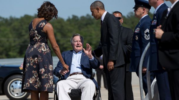 AP obama george h w bush sk 140409 16x9 608 George H.W. Bush, In Wheelchair, Greets Obama in Houston