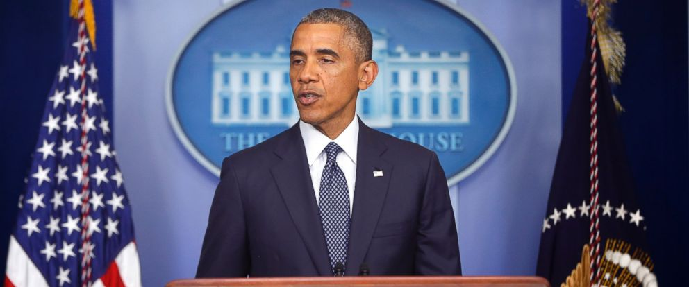 PHOTO: President Barack Obama speaks about foreign policy and escalating sanctions against Russia in response to the crisis in Ukraine in the James Brady Press Briefing Room at the White House in Washington, July 16, 2014.