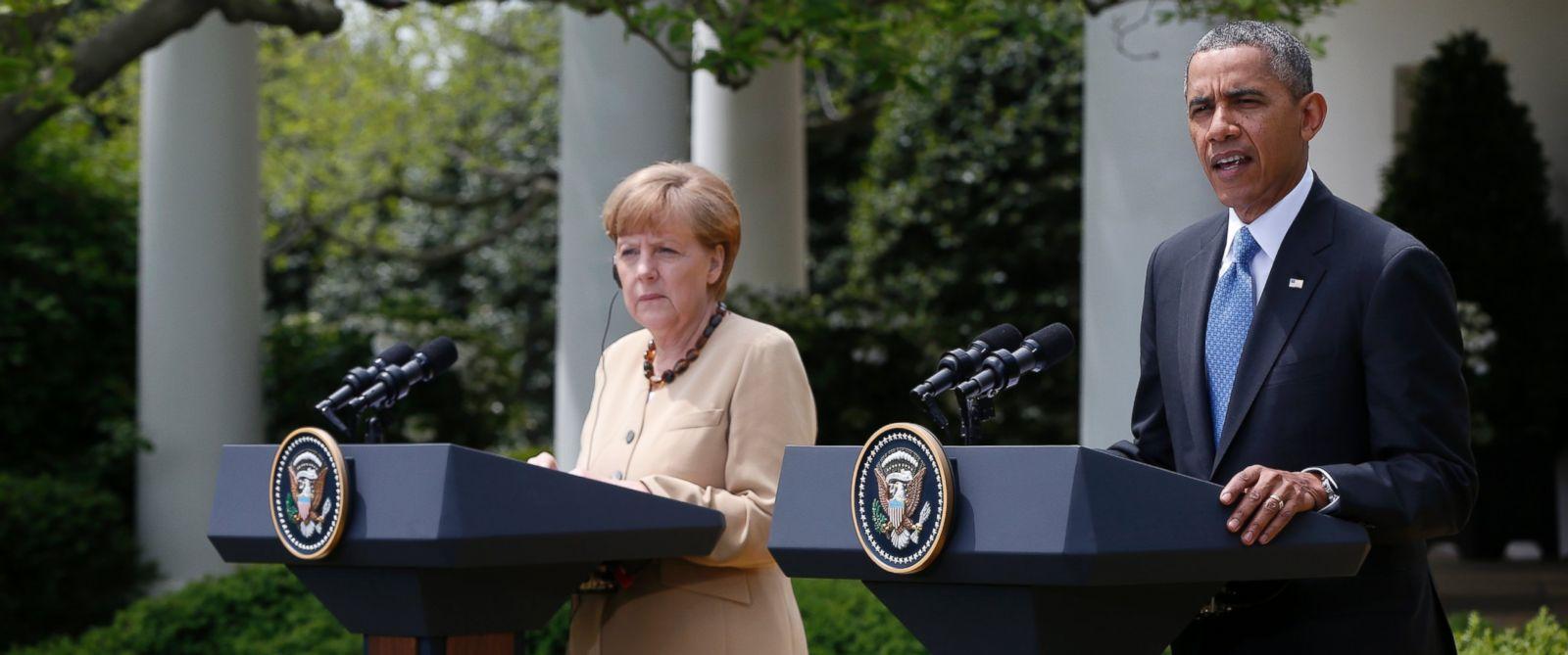 PHOTO: President Barack Obama and German Chancellor Angela Merkel