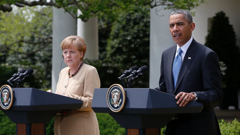 PHOTO: President Barack Obama and German Chancellor Angela Merkel