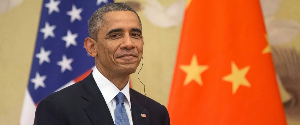 PHOTO: President Barack Obama smiles during a joint news conference with Chinese President Xi Jinping at the Great Hall of the People in Beijing, Nov. 12, 2014.