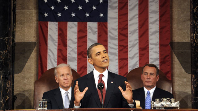 PHOTO: President Barack Obama delivers his State of the Union address on Capitol Hill in Washington, Jan. 24, 2012 as Vice President Joe Biden, back left, and House Speaker John Boehner listen.