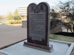 PHOTO: A Ten Commandments monument erected outside the Oklahoma state Capitol is shown, Nov. 16, 2012.