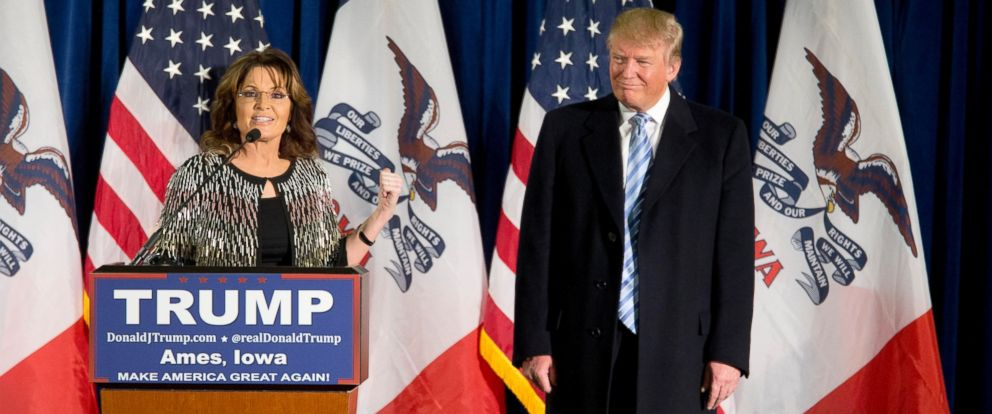 PHOTO: Former Alaska Gov. Sarah Palin, left, endorses Republican presidential candidate Donald Trump during a rally at the Iowa State University, Jan. 19, 2016, in Ames, Iowa.