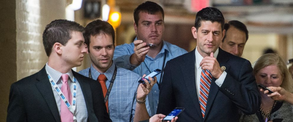 PHOTO: Rep. Paul Ryan speaks with reporters as he leaves the House Republican Conference meeting in the Capitol, June 10, 2015.