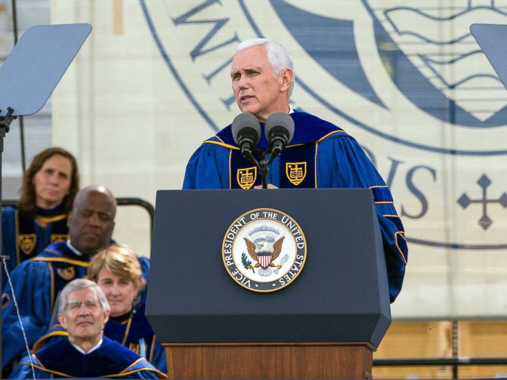 PHOTO: Vice President Mike Pence speaks during the 2017 commencement ceremony, May 21, 2017, in South Bend, Ind.