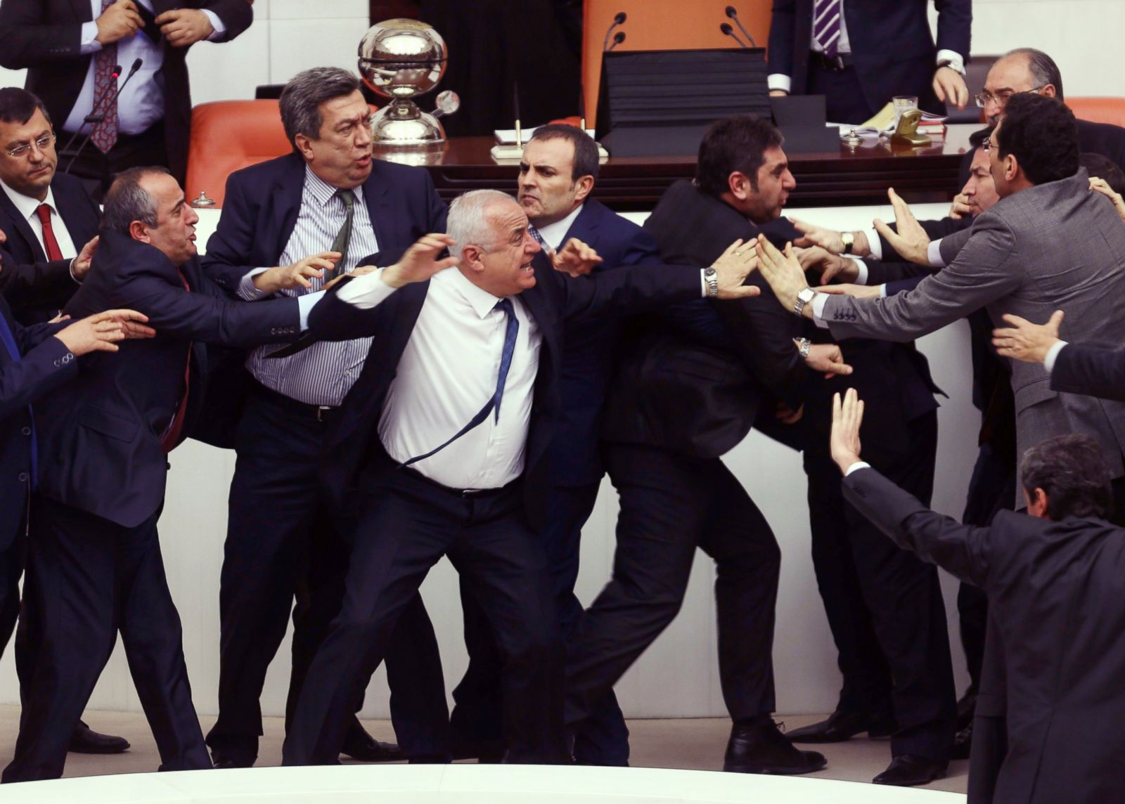 brawl erupts in the turkish parliament picture when politicians
