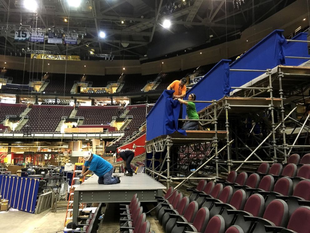PHOTO: Workers prepare a camera platform inside Quicken Loans Arena in preparation for the Republican National Convention, June 28, 2016, in Cleveland.