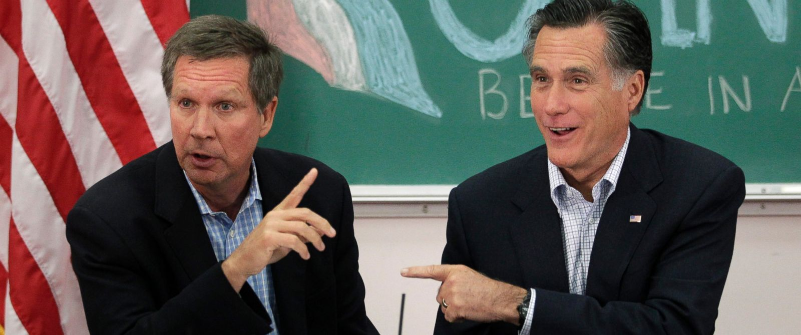 PHOTO:In this file photo, Mitt Romney and John Kasich point to each other during a roundtable discussion with students at Otterbein University in Westerville, Ohio, April 27, 2012.
