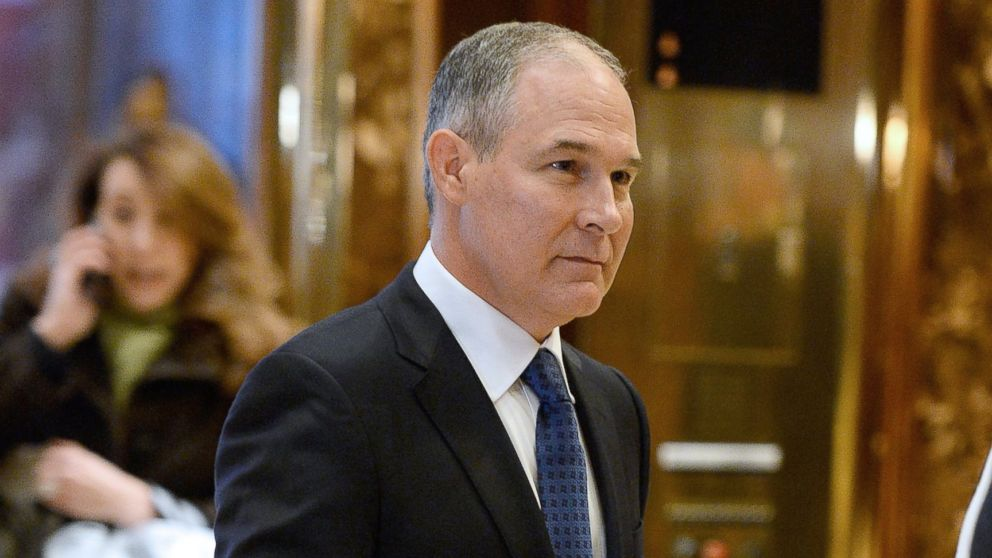 PHOTO: Attorney General Scott Pruitt of Oklahoma is seen in the lobby of the Trump Tower in New York on Nov. 28, 2016.