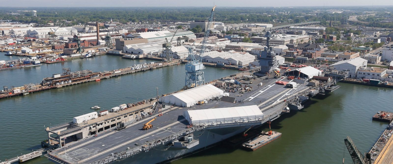 PHOTO: In this April 27, 2016 photo, USS Gerald R. Ford is stationed at Newport News Shipbuilding in Newport News, Va.