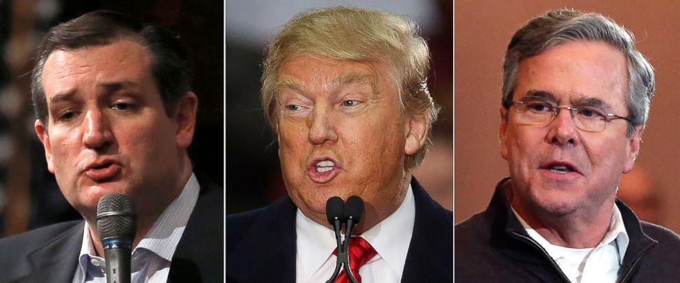 PHOTO: (L-R) Republican presidential candidates Sen. Ted Cruz in Greenville, S.C., Feb. 12, 2016, Donald Trump in Pendleton, S.C., Feb. 10, 2016 and former Florida Gov. Jeb Bush in Portsmouth, N.H., Feb. 8, 2016.