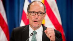PHOTO: Labor Secretary Thomas Perez speaks at a news conference at the Treasury Department in Washington,June 22, 2016, on the annual Social Security and Medicare Boards of Trustees report.