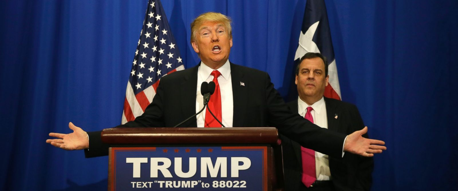 PHOTO: Republican presidential candidate Donald Trump, accompanied by New Jersey Gov. Chris Christie, speaks before a rally in Fort Worth, Texas, Feb. 26, 2016.