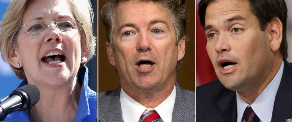 PHOTO: From left, Sen. Elizabeth Warren, Sen. Rand Paul and Sen. Marco Rubio