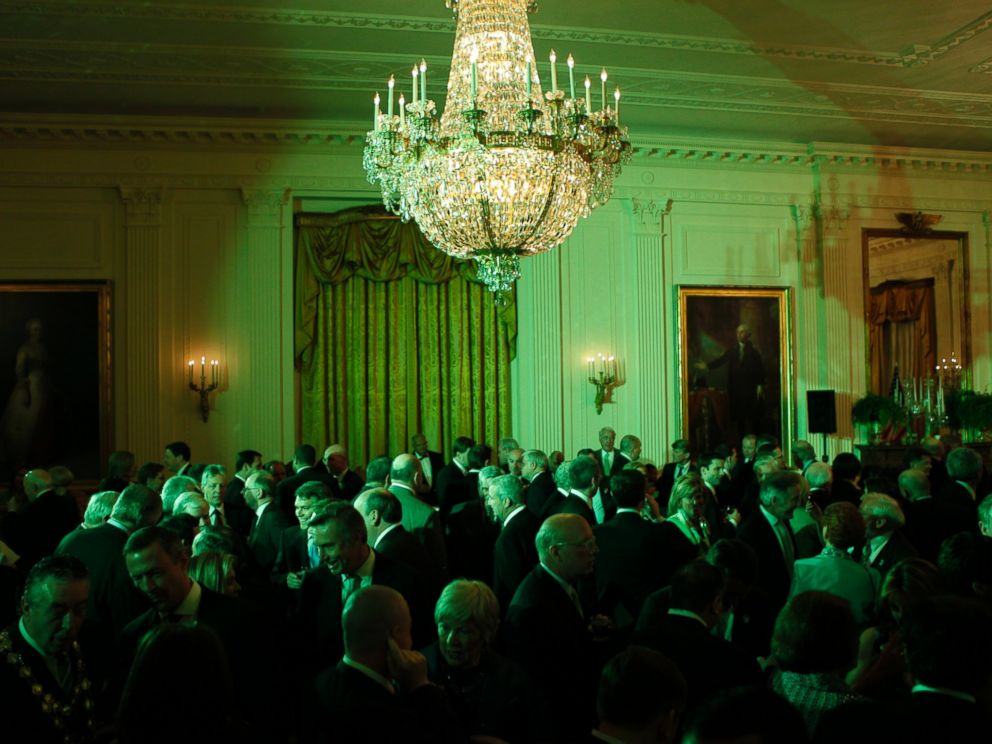 PHOTO: The East Room of the White House is bathed in green light at a St. Patricks Day reception hosted by President Barack Obama in Washington, March 17, 2009.
