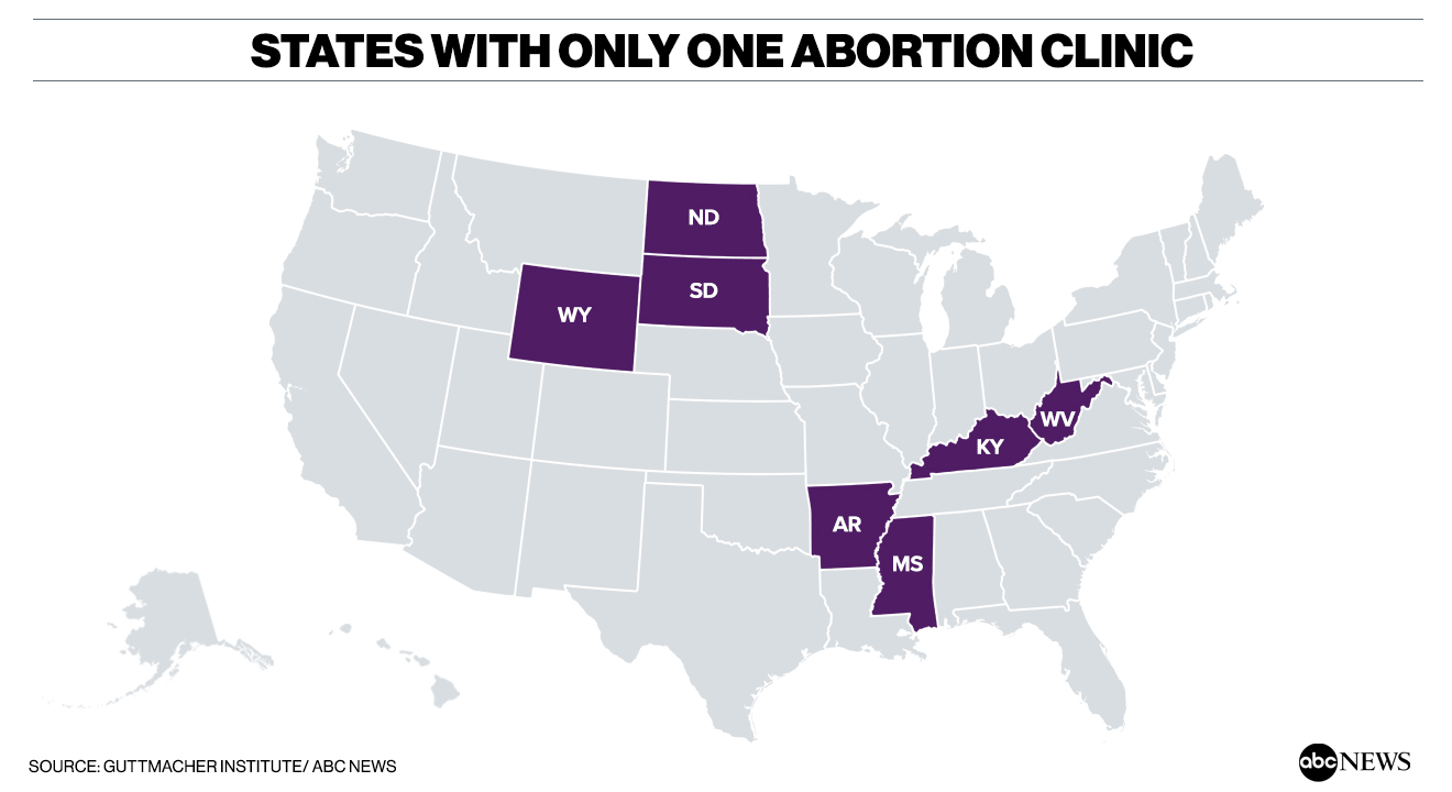 In growing number of states, women seeking abortions face the problem of where to go Abortion map