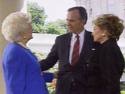 Video of President George H. W. Bush talking to Barbara Walters.
