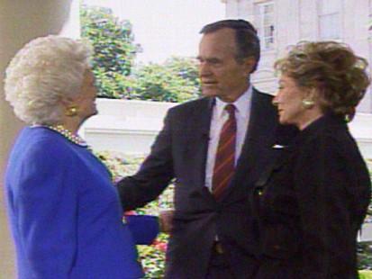 Video of President George H. W. Bush talking to Barbara Walters.