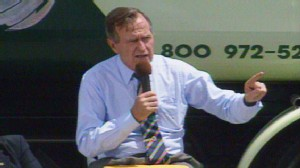 Video of President George Herbert Walker Bush on the stump in 1992.