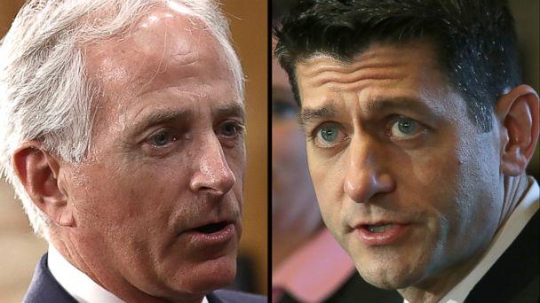 PHOTO: Senator Bob Corker, left, House Speaker Paul Ryan.