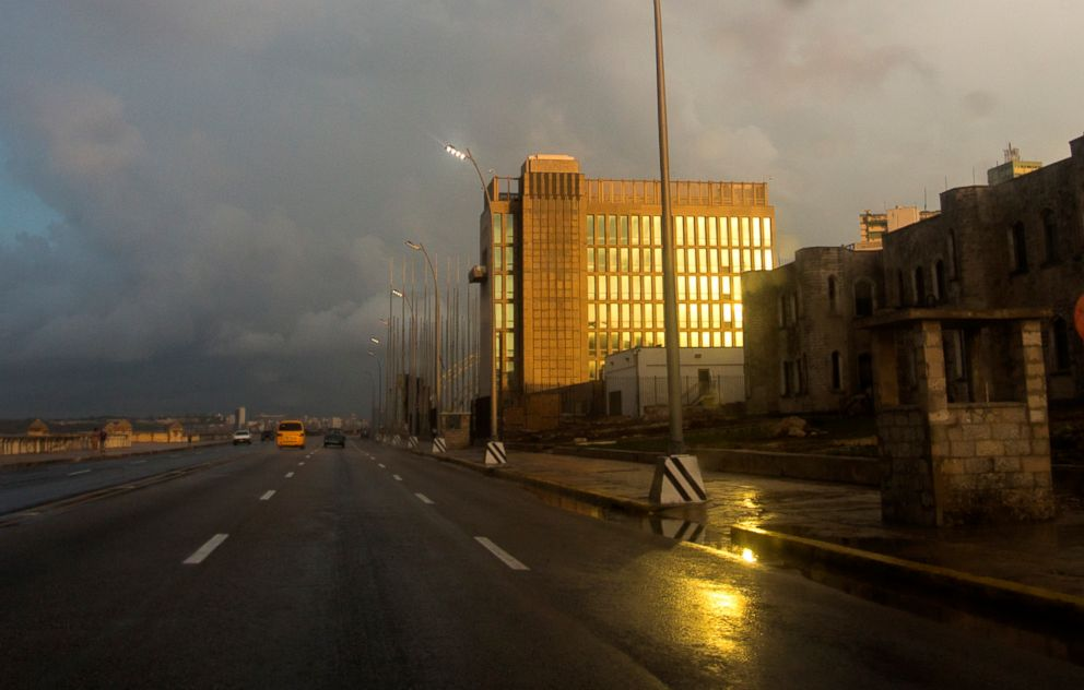 PHOTO:The light from the setting sun shines on the facade of the United States Embassy, in Havana, Cuba, Oct. 14, 2017.