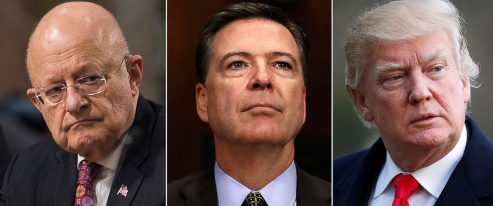 PHOTO: (L-R) Pictured in this combination photo are James Clapper Jr., James Comey and President Donald Trump.