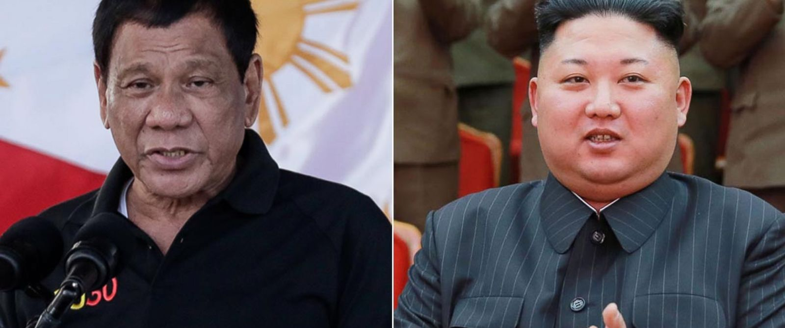 PHOTO: Philippine President Rodrigo Duterte in the province of Bukidnon, Northern Mindano, Philippines, on March 25, 2017 | North Korean leader Kim Jong-Un in Pyongyang, on Feb. 22, 2017.