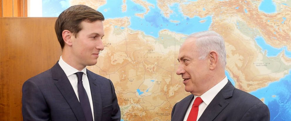 PHOTO: Israeli Prime Minister Benjamin Netanyahu, right, welcomes Jared Kushner, the Middle East Adviser and son-in-law to President Trump, in Jerusalem, June 21, 2017.