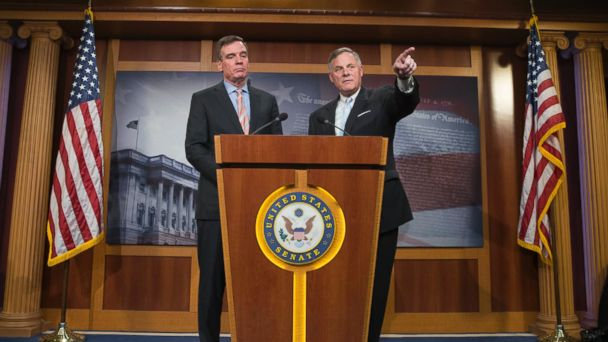 PHOTO: Sen. Richard Burr, right, and Sen. Mark Warner hold a news conference on the committee's investigation into Russian interference in the 2016 presidential election on Capitol Hill, March 29, 2017.
