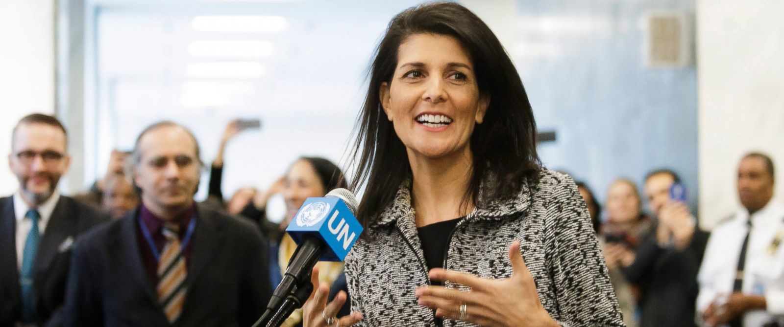 PHOTO: Ambassador Nikki Haley, the new United States Ambassador to the United Nations, talks to reporters as she arrives to the United Nations headquarters for the first time, in New York, 27 Jan. 27, 2017.