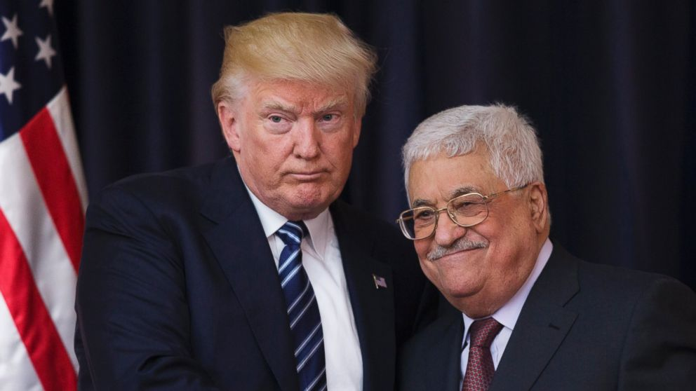 PHOTO: President Donald J. Trump shakes hands with Palestinian President Mahmoud Abbas after they held a joint press conference at Abbas' residence in Bethlehem, the West Bank, May 23,  2017.