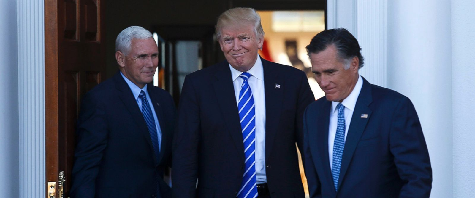 PHOTO: Former Massachusetts Governor Mitt Romney (R) leaves after meeting with President-elect Donald Trump (C) and Vice President-elect Mike Pence (L) at the clubhouse at Trump International Golf Club, in Bedminster Township, New Jersey, Nov. 19, 2016.