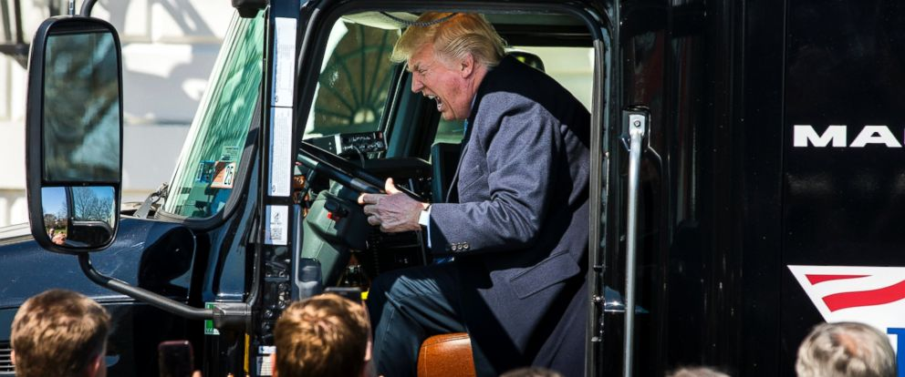 PHOTO: President Donald J. Trump gets in the drivers seat of an 18-wheeler while meeting with truck drivers and trucking CEOs on the South Portico prior to their meeting to discuss health care at the White House in Washington, March 23, 2017.