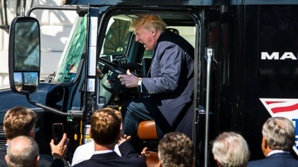 PHOTO: President Donald J. Trump gets in the driver's seat of an 18-wheeler while meeting with truck drivers and trucking CEOs on the South Portico prior to their meeting to discuss health care at the White House in Washington, March 23, 2017.