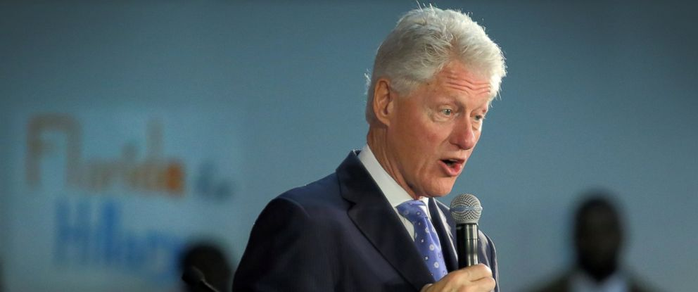 PHOTO: Former President Bill Clinton speaks during a campaign stop in South Florida on behalf of Hillary Clinton, during the grassroots event at the Betty T. Ferguson Recreational Complex in Miami Gardens, Fla., Feb. 28, 2016.