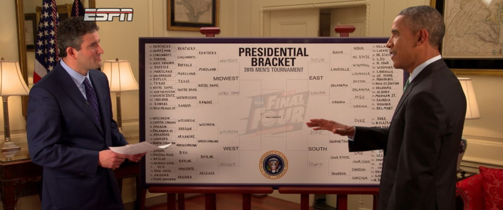 PHOTO: President Barack Obama discusses his NCAA picks with ESPNs Andy Katz.