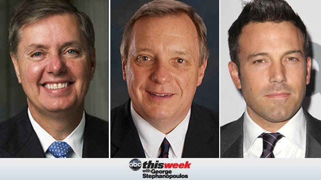 PHOTO: Lindsey Graham and Dick Durbin appear on This Week with George Stephanopolous, airing on ABC.