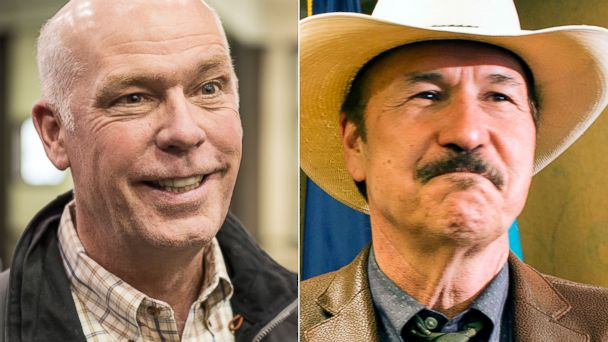 PHOTO: (L-R) Republican Greg Gianforte campaigns in Bozeman, Mont.,  April 22, 2017 and Rob Quist attends a news conference in Helena, Mont., March 5, 2017.