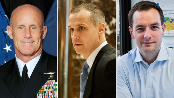 PHOTO: (L-R) Pictured are Ret. Navy Admiral Robert Harward in an undated U.S. Navy photo obtained Feb. 17, 2017, Corey Lewandowski in New York, Nov. 29, 2016 and Robby Mook in Brooklyn, New York, June 28, 2016.