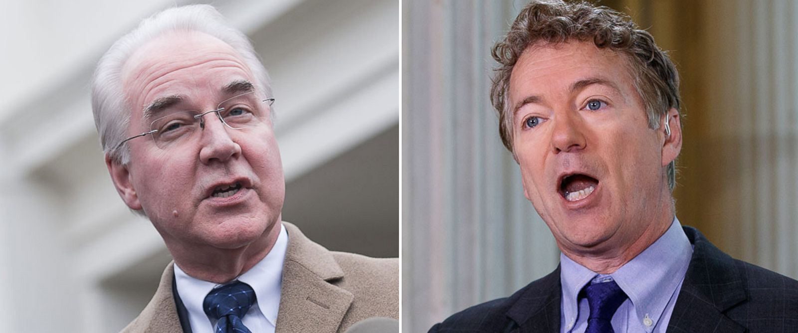 PHOTO: Health and Human Services Secretary Tom Price in Washington, March 13, 2017; Sen. Rand Paul in Washington, March 7, 2017.