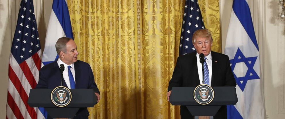 PHOTO: Israel Prime Minister Benjamin Netanyahu and President Donald Trump speak in a joint news conference at the East Room of the White House Feb. 15, 2017 in Washington.