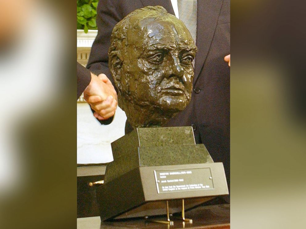 PHOTO:Detail of the bust of British Prime Minister Winston Churchill that was presented to President George W. Bush from British Ambassador Sir Christopher Meyer in 2001.