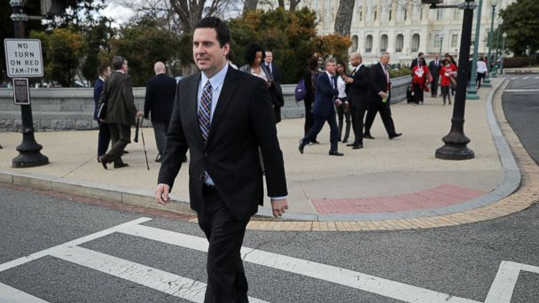 PHOTO: House Select Committee on Intelligence Chairman Devin Nunes (R-CA) leaves the U.S. Capitol after a series of votes, March 28, 2017, in Washington.