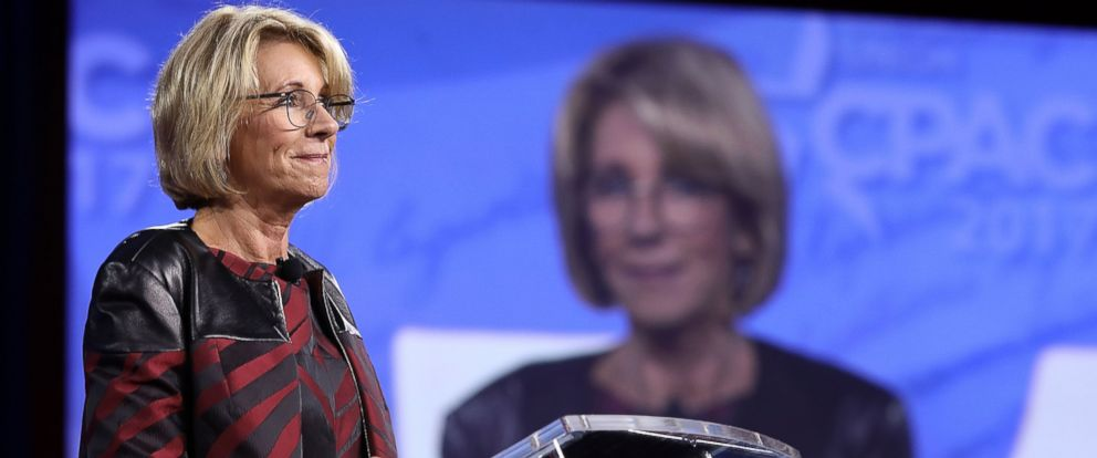 PHOTO: U.S. Secretary of Education Betsy DeVos addresses the Conservative Political Action Conference at the Gaylord National Resort and Convention Center, Feb. 23, 2017, in National Harbor, Maryland.