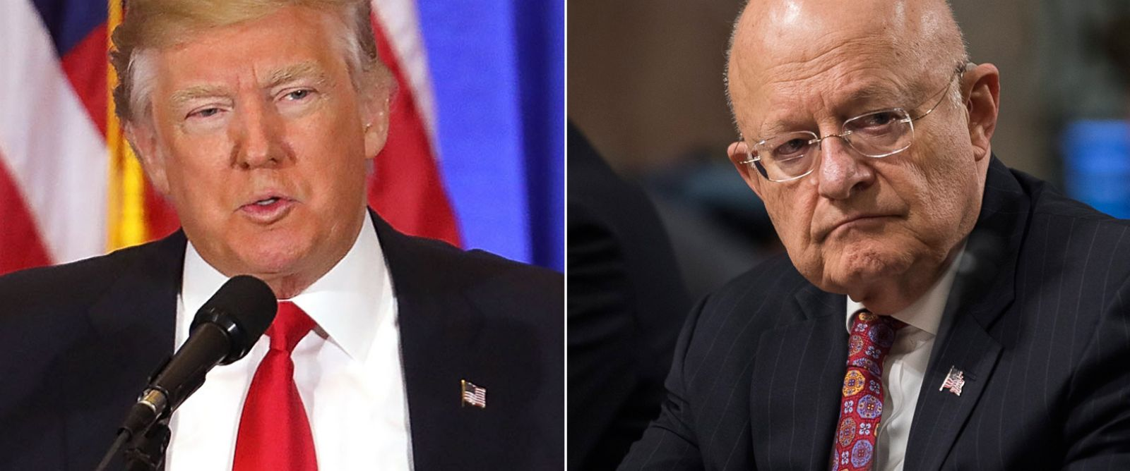 PHOTO: Pictured (L-R) are President-elect Donald Trump in New York City, Jan. 11, 2017 and Director of National Intelligence James Clapper Jr. in Washington, D.C., Jan. 5, 2017.