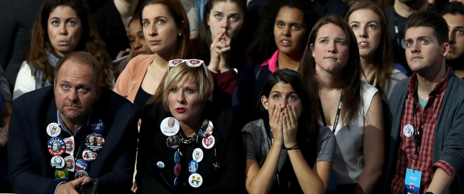 PHOTO: Supporters of Democratic Presidential candidate Hillary Clinton watching early results at the Jacob K. Javits Convention Center November 8, 2016 in New York City.