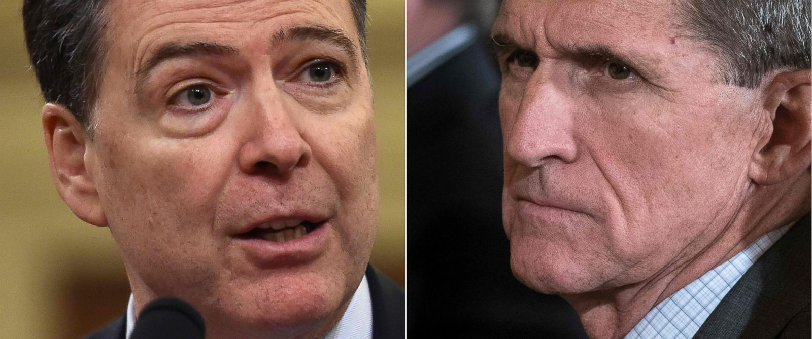 PHOTO: FBI Director James Comey, left and National Security Advisor Michael Flynn.