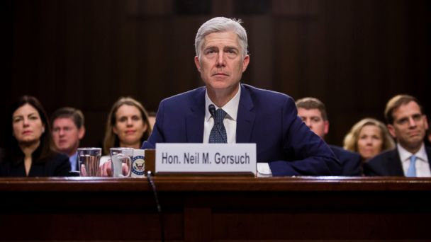 PHOTO: Neil Gorsuch testifys at his confirmation hearing before the Senate Judiciary Committee on Capitol Hill, in Washington, March 22, 2017.