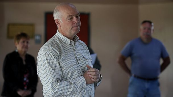 PHOTO: Republican congressional candidate Greg Gianforte pauses as he speaks to supporters during a campaign meet and greet at Lions Park, on May 23, 2017, in Great Falls, Mont.
